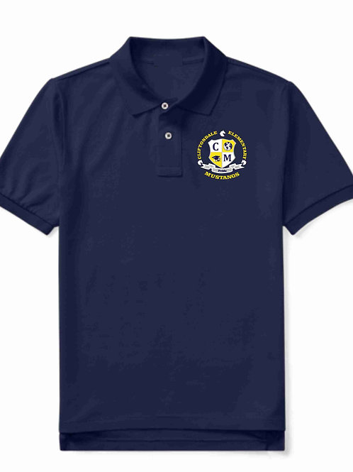 "Youth Navy Blue Polo ""C/M Shield"" Logo"