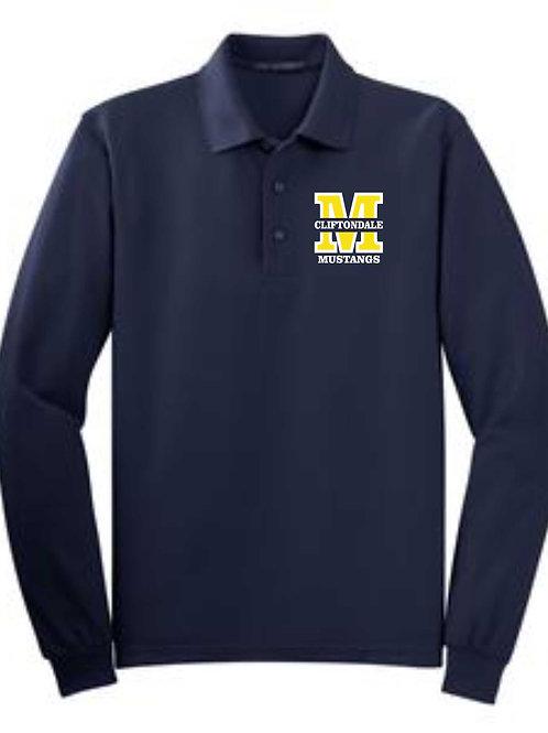"""Youth Navy  Long Sleeve Polo """"M"""" logo"""