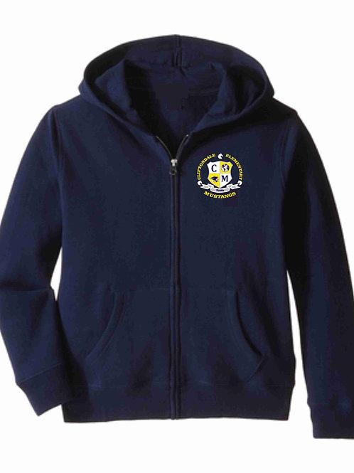 """Navy Zip Hoodie """"C/M Shield"""" Logo"""