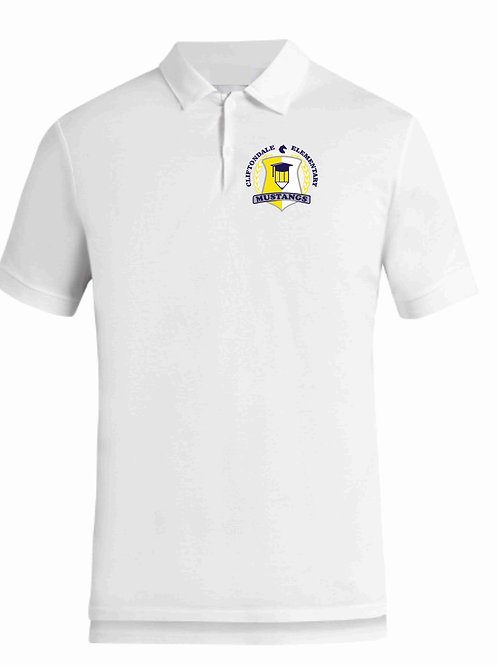 "Adult White Polo ""Pencil Shield"" Logo"