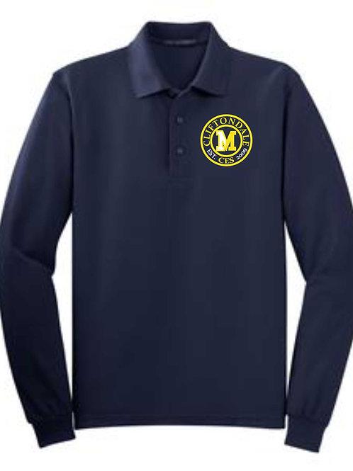 "Youth Navy Long Sleeve Polo ""Circle"" logo"