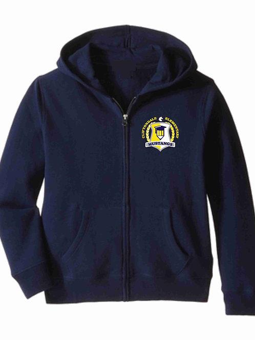 """Navy Zip Hoodie """"Pencil Shield"""" Logo"""