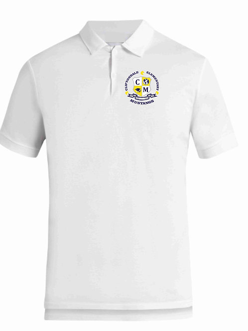 "Adult White Polo ""C/M Shield"" Logo"