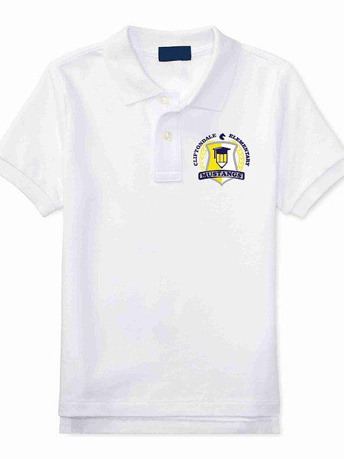 "Youth White Polo ""Pencil Shield"" Logo"
