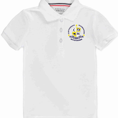 "Girls White Polo ""C/M"" Shield"