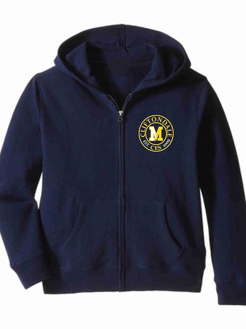 "Navy Zip Hoodie ""Circle logo"""