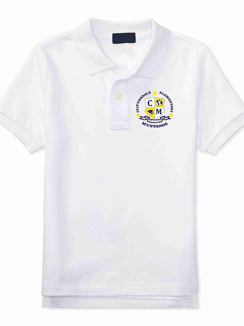 "Youth White Polo ""C/M Shield"" Logo"