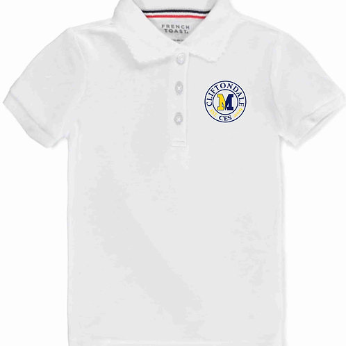 """Girls White Polo""""Circle Logo"""