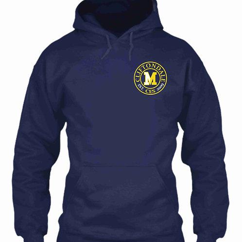 "Navy blue pullover ""circle"" logo"