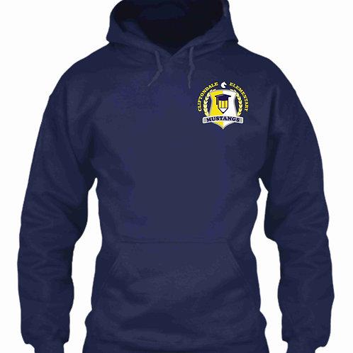 """Navy Blue Pullover """"Pencil Shield"""" Logo"""