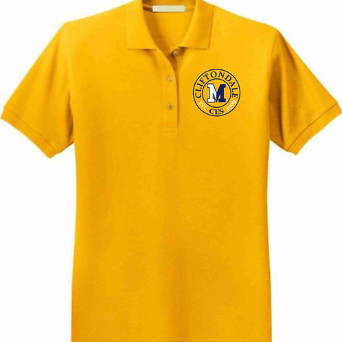 "Youth gold polo ""circle"" logo"