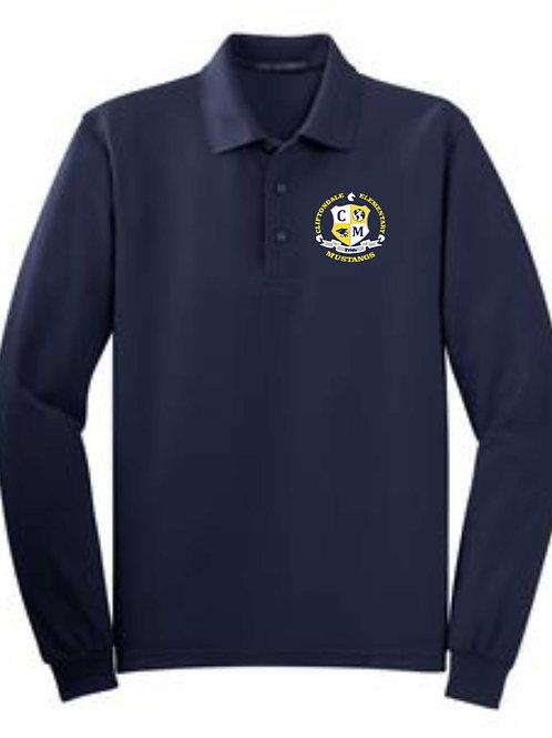 """Youth Navy Long Sleeve Polo """"Shield"""" logo"""