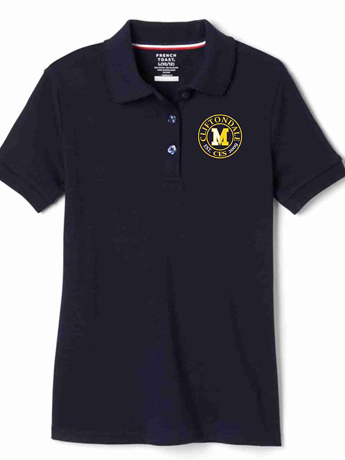 "Girls Navy Polo ""Circle"" Logo"