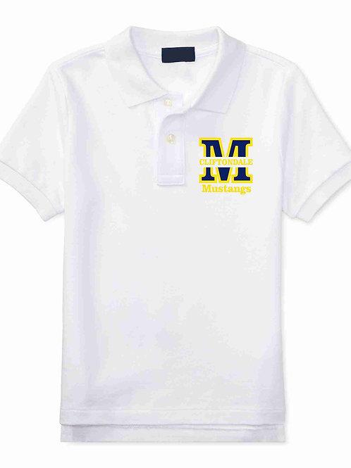 """Youth White Polo """"M"""" Logo"""