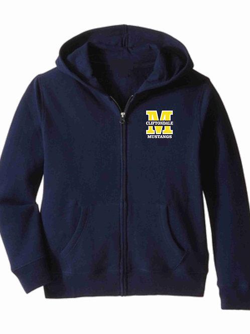 """Navy Zip Hoodie """"M"""" Logo"""