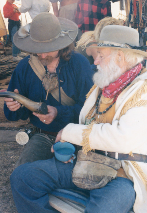 Swapping stories of the old West with an old timer.