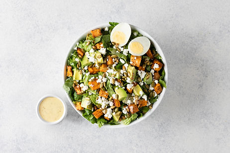 An egg and protein salad with dip by Just Salad