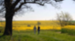 Duncan and Elie Farrinton walking through Farrington farm