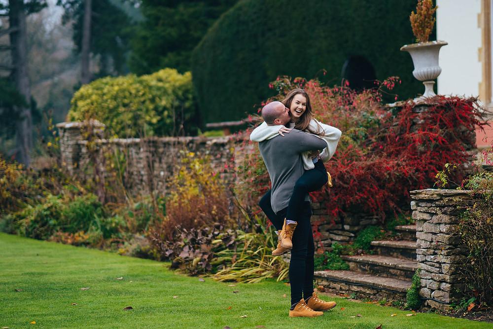 Fun couples pre-wedding shoot in Cheltenham, Cotswolds Wedding Photographer