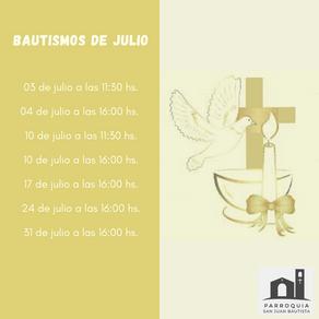 BAUTISMOS EN JULIO