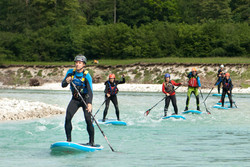 Stand Up paddleboarding (SUP) on Soča River