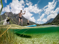 Stand Up paddleboarding (SUP) on Lake Predil