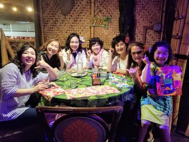 Korean group having dinner on Kaua'i Isl