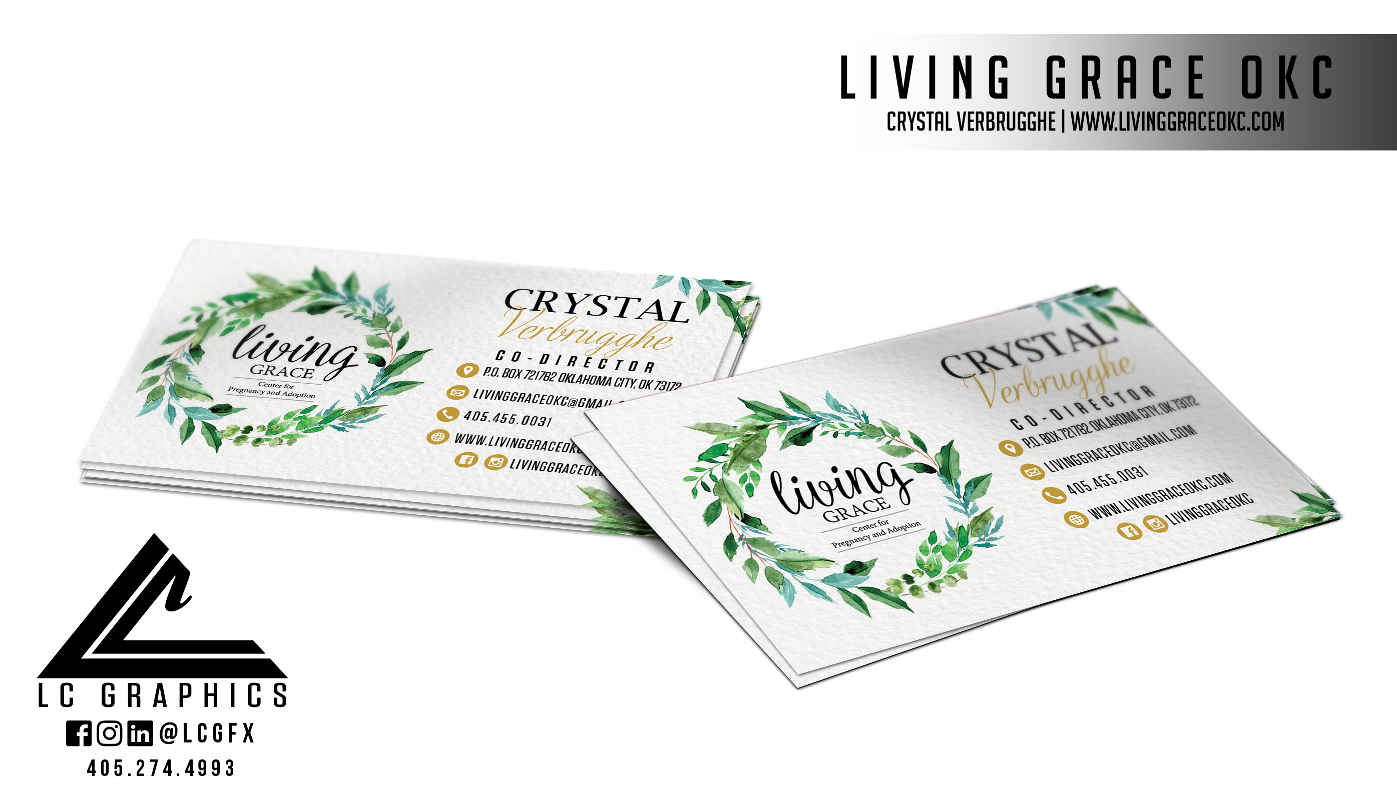 Living Grace OKC Business Cards Mockup