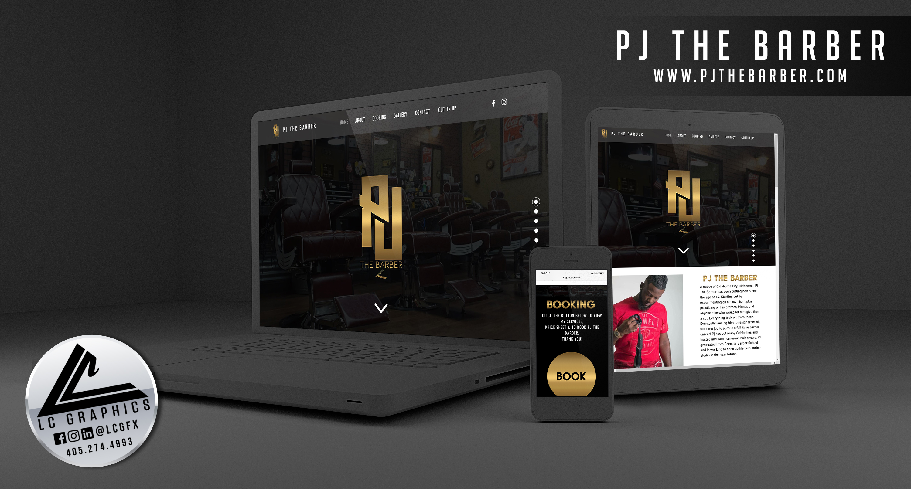 PJ The Barber Website Mockup