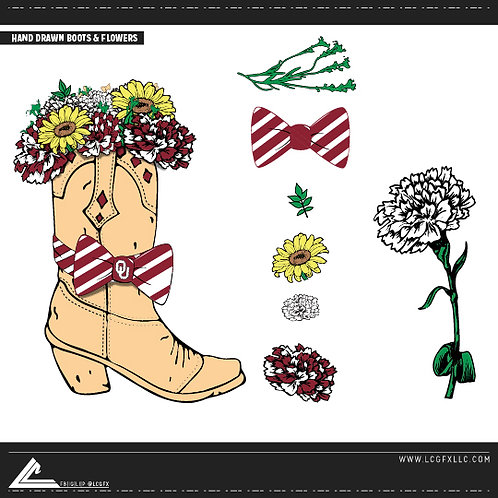 Boots & Flowers Vector Pack