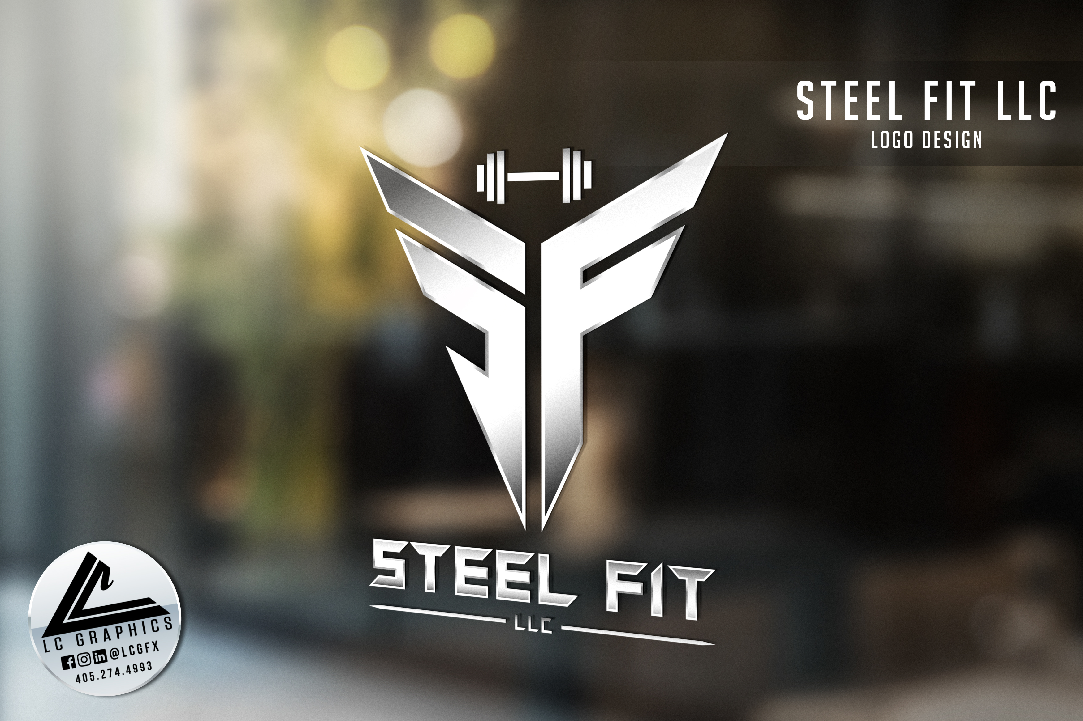 Steel Fit LLC Window Logo Mockup
