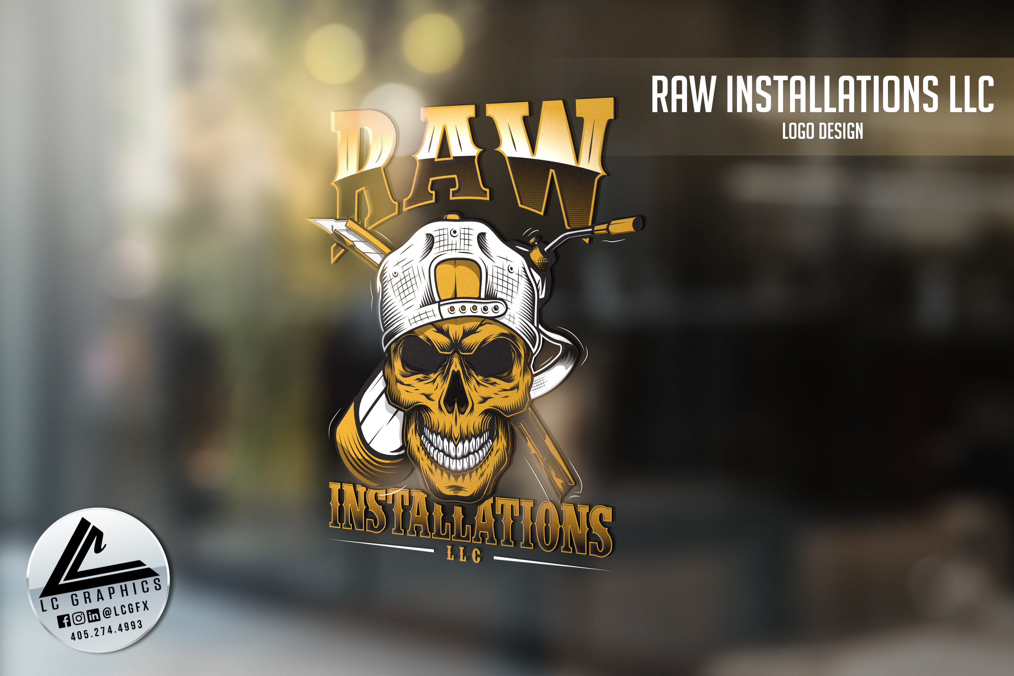 Raw Installations Window Logo Mockup