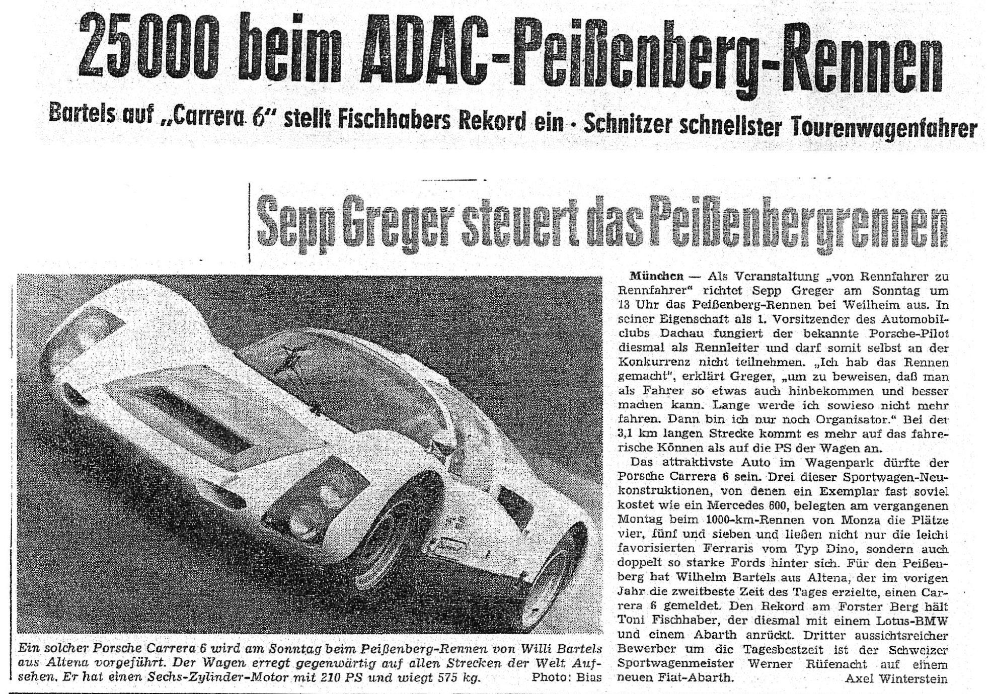 Zeitungsartikel Preißenbergrennen 1965