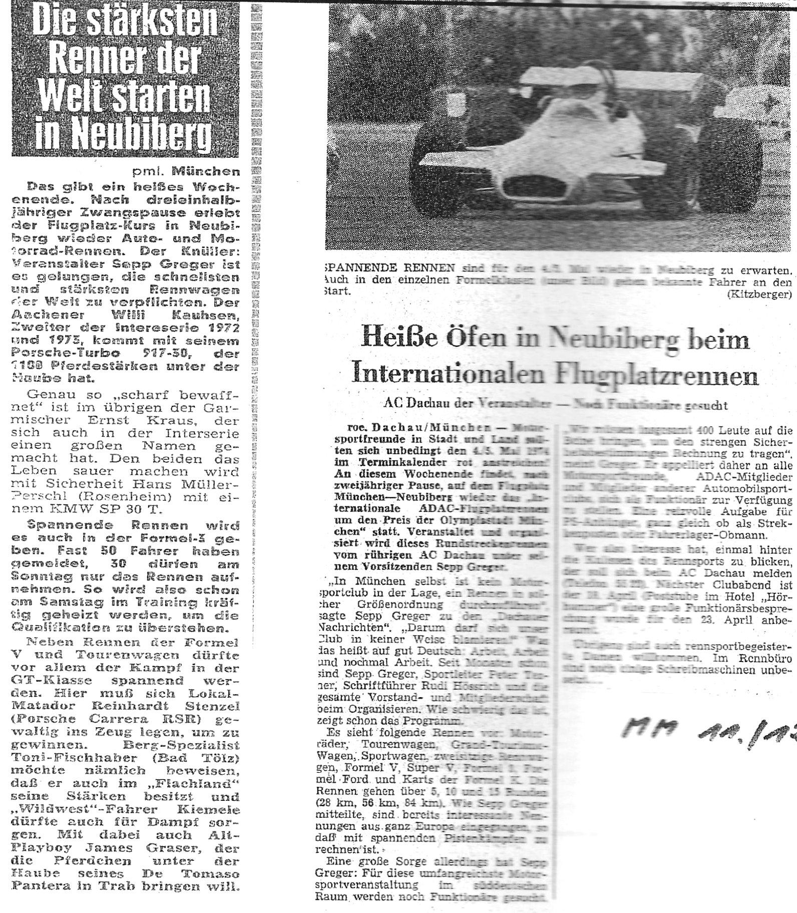 Zeitungsartikel Flugplatzrennen 1974