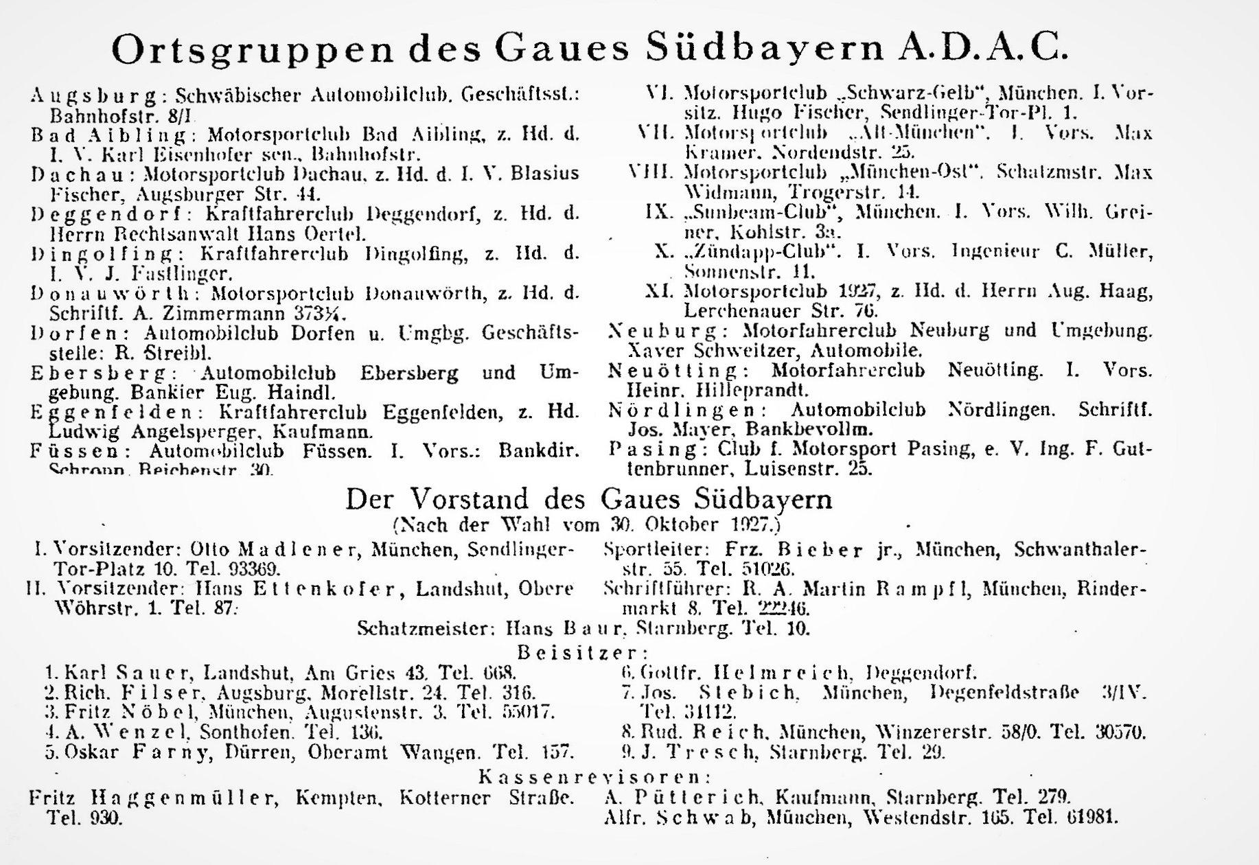 ADAC Ortsgruppen - 1927