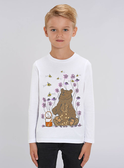 Bear and bees long sleeved white tee
