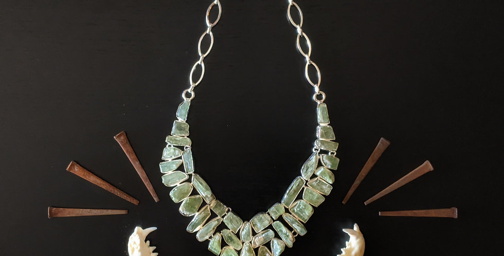 GREEN KYANITE + STERLING SILVER NECKLACE