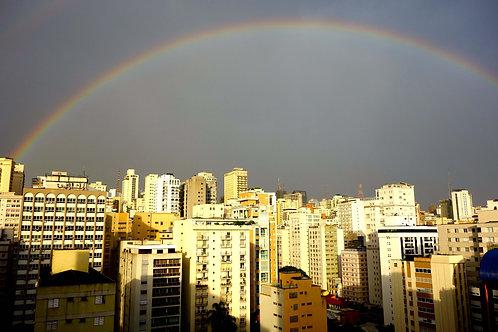 Gewitter Sao Paulo, Regenbogen bei Gewitter Sao Paulo, Silhouette Sao Paulo, Skyline Sao Paulo