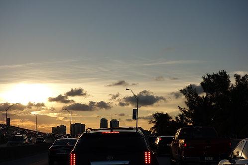 Sunset Miami Beach, Highway Florida, Traffic jam Miami, Sonnenuntergang Miami, Verkehr Miami
