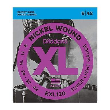 Daddario  EXL120 Nickel Wound Electric Guitar Strings, Super Light, 09-42