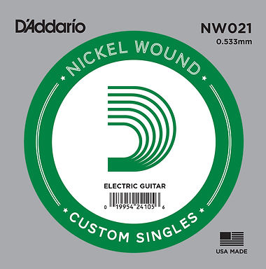 NW021 D'Addario Nickel Wound Electric Single String .021 Gauge