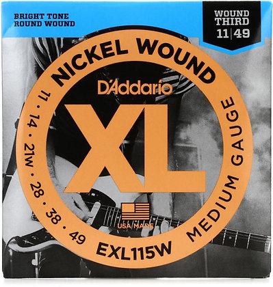 EXL115W Daddario  Nickel Wound Electric Guitar Strings, Medium