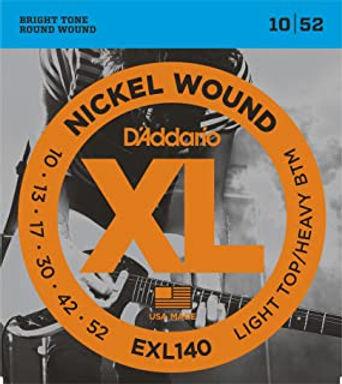 EXL140 D'Addario Nickel Light Top/Heavy Bottom Electric Guitar Strings 10-52