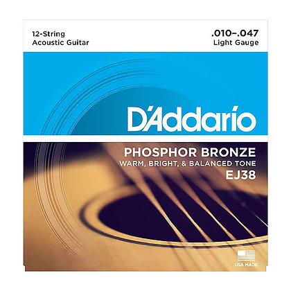 Daddario EJ38 Phosphor Bronze 12-string Guitar set