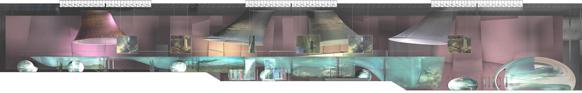 arteo architectures , coupe , pojet de la cité de l'eau , colombes , la seine , musée , muséographie , scénographie