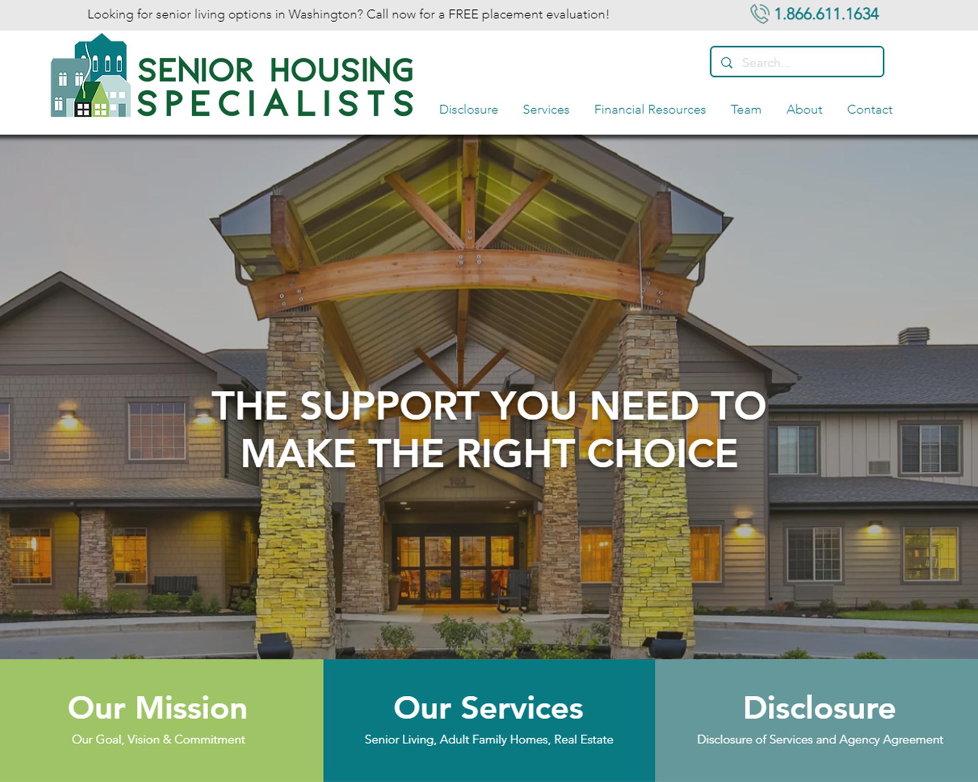 Senior Housing Specialists Website Portfolio