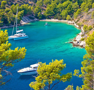 Secret turquoise beach yachting and sail