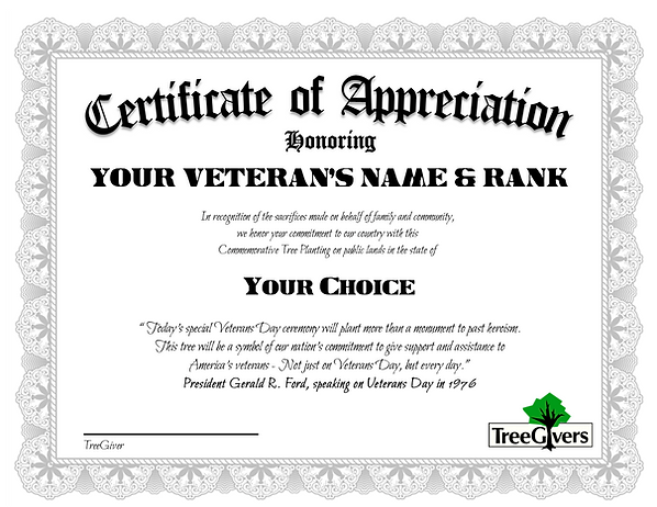 Veterans Day 2019 sample certificate
