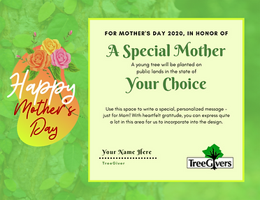 mothers day tree planting gift certificate idea