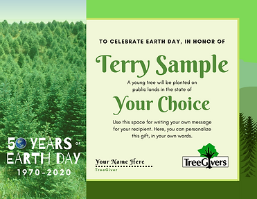 plant a tree for earth day gift certificate idea